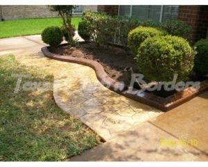 Croken stamped concrete installation after image